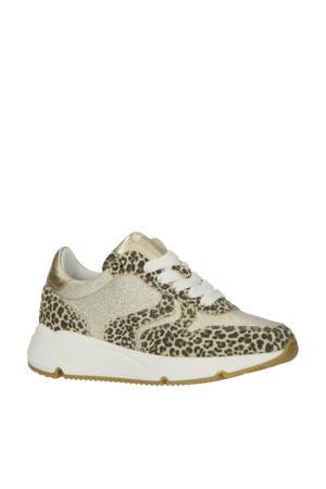 H1797  leren sneakers met panterprint beige