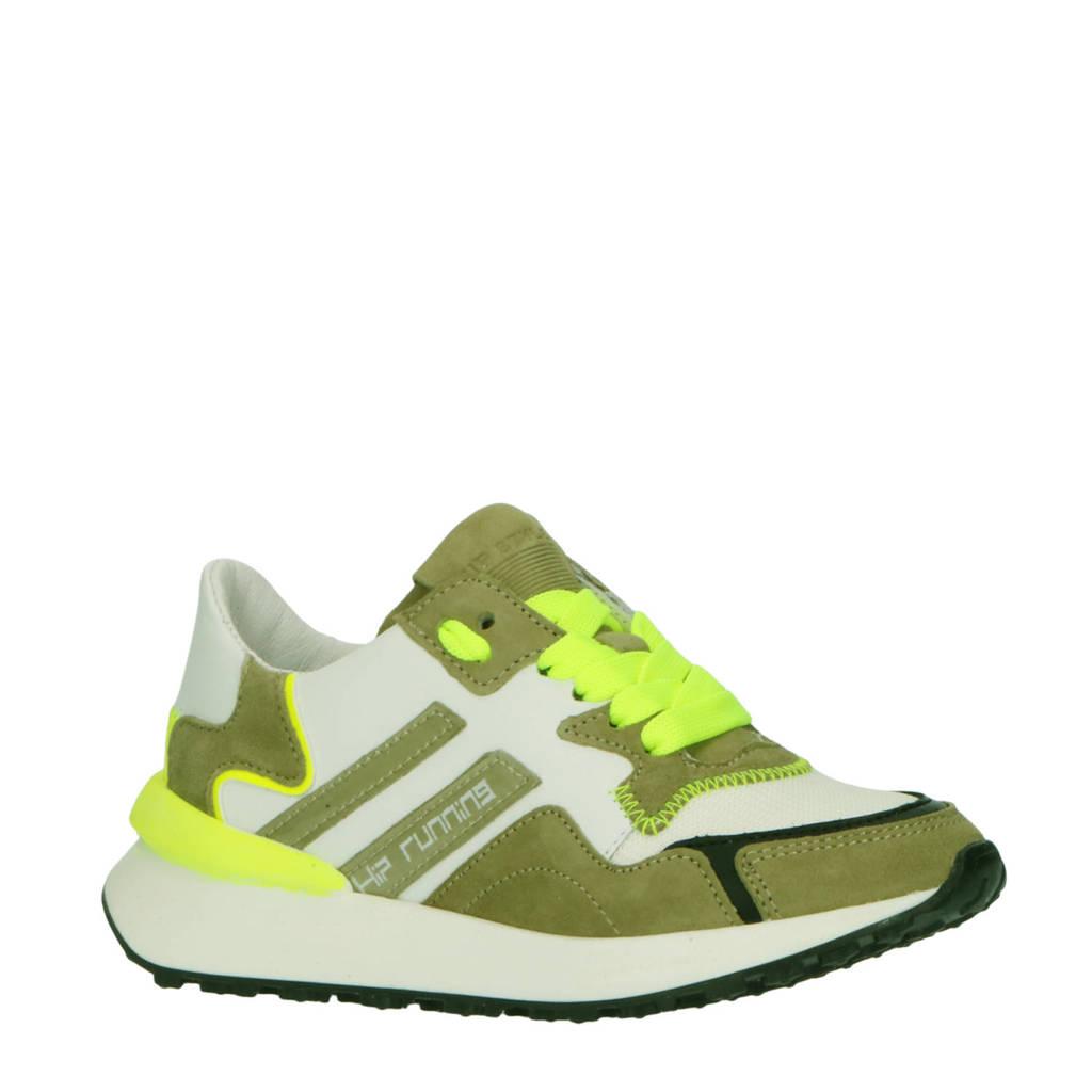 Hip H1715  leren sneakers wit/groen, Wit/Groen/Neon geel