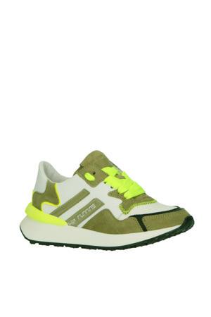 H1715  leren sneakers wit/groen