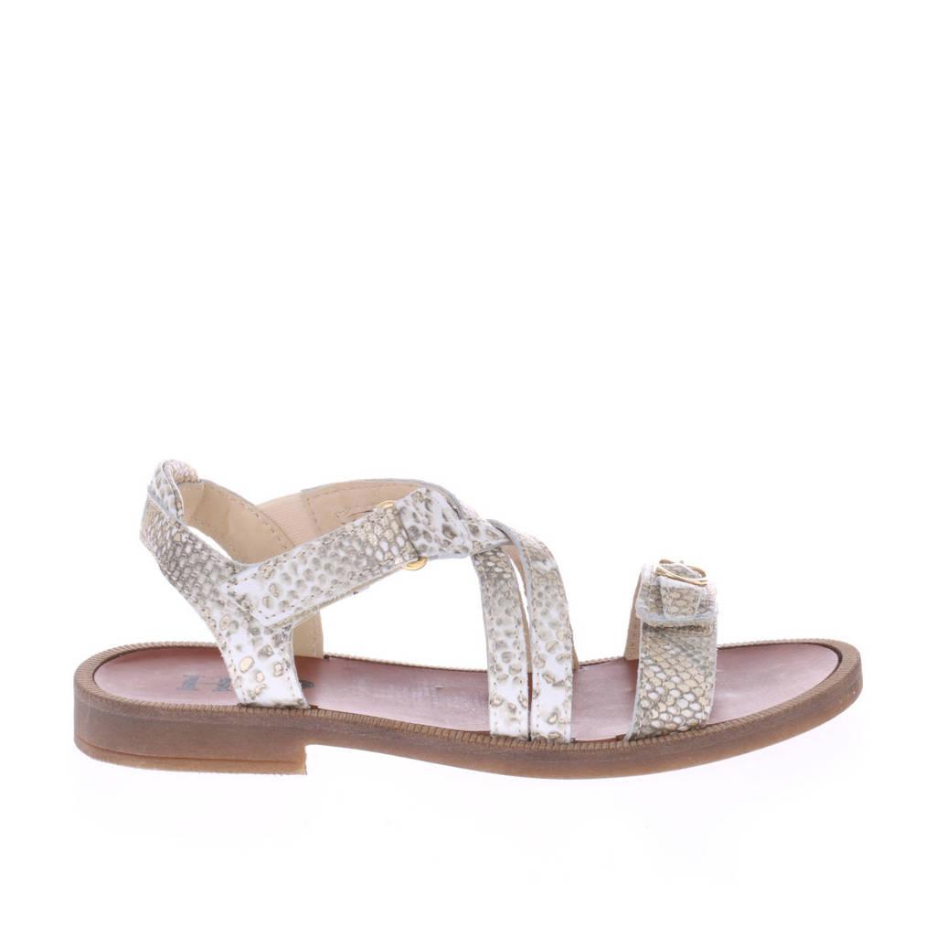 Hip H1783  leren sandalen met slangenprint goud, Goud/Wit/Beige