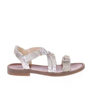 H1783  leren sandalen met slangenprint goud