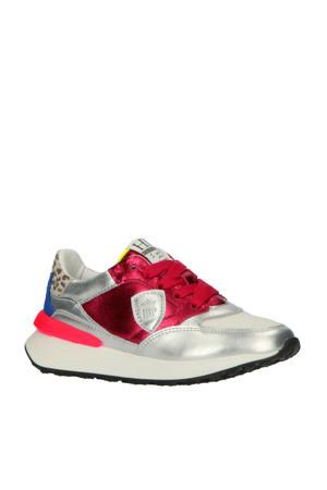 H1702  leren sneakers zilver/roze