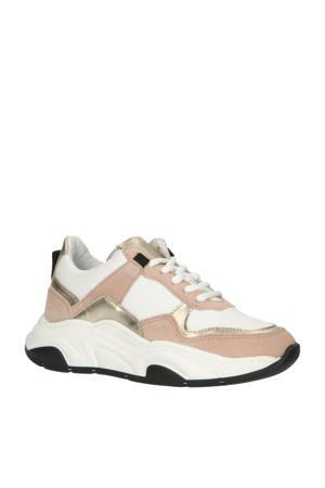 H1752  leren chunky sneakers roze/multi