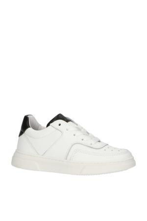 H1706  leren sneakers wit/zwart