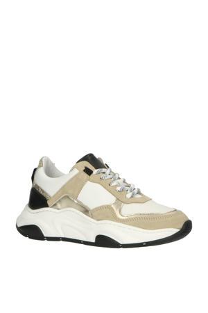 H1752  leren chunky sneakers beige/multi
