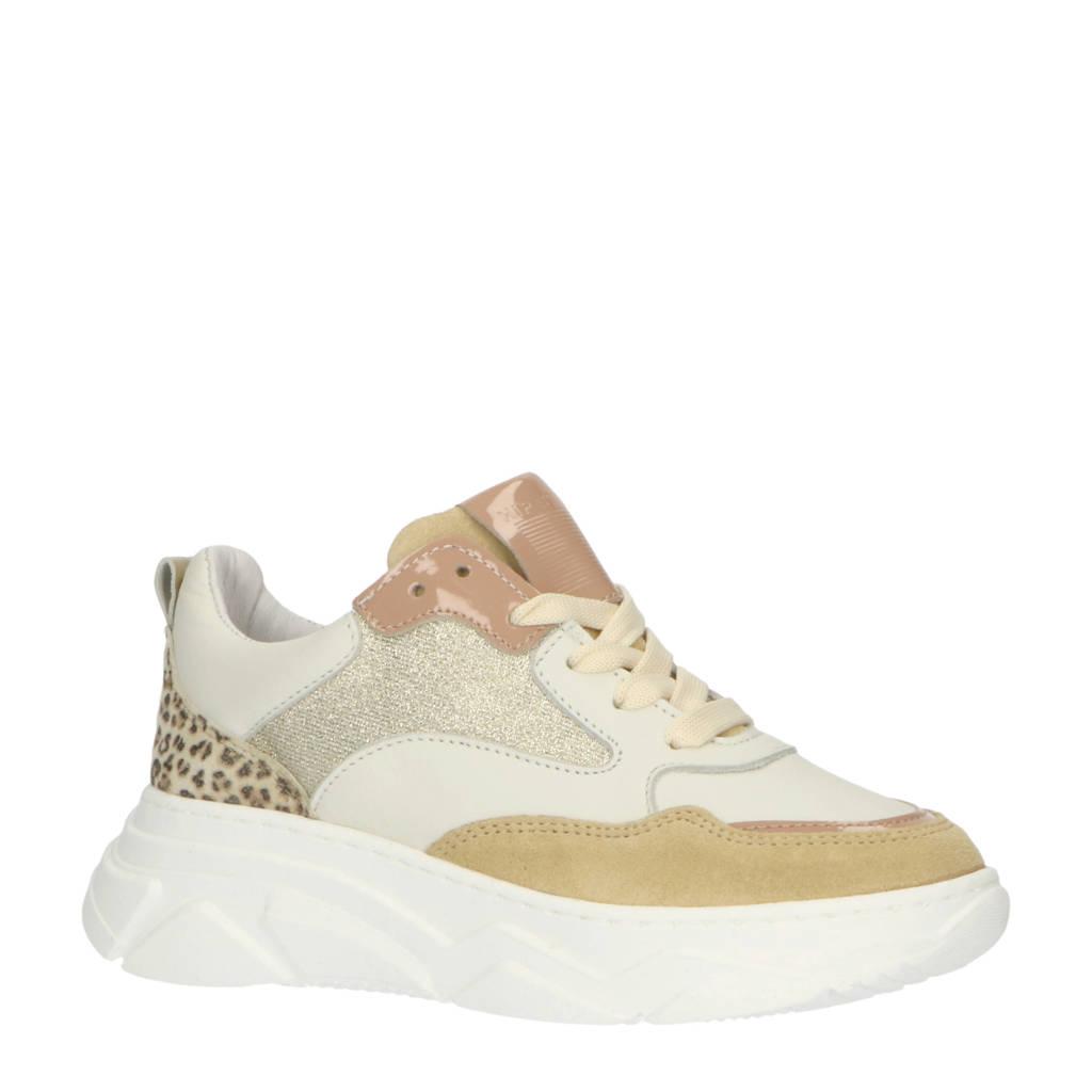 Hip H1710  leren sneakers met panterprint wit/multi, Wit/multi