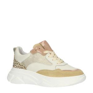 H1710  leren sneakers met panterprint wit/multi
