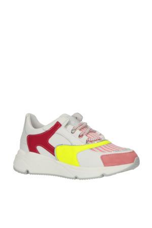 H1763  leren chunky sneakers wit/multi