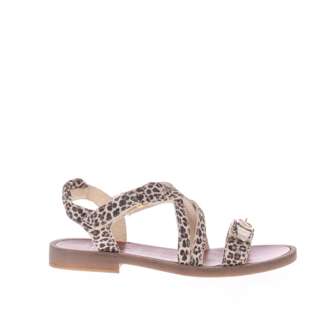 Hip H1783  leren sandalen met panterprint beige, Beige/goud