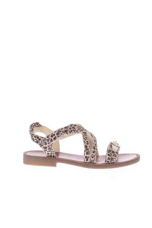 H1783  leren sandalen met panterprint beige