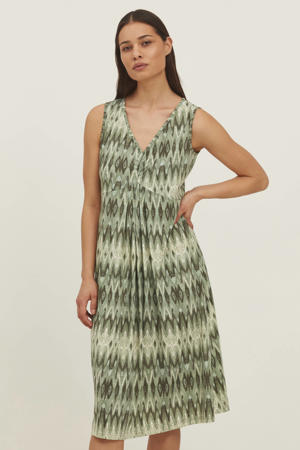 A-lijn jurk met all over print en plooien groen