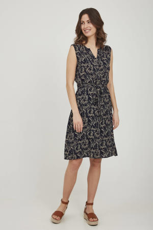 jurk met all over print en ceintuur donkerblauw