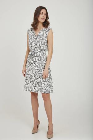jurk met all over print en ceintuur ecru/zwart