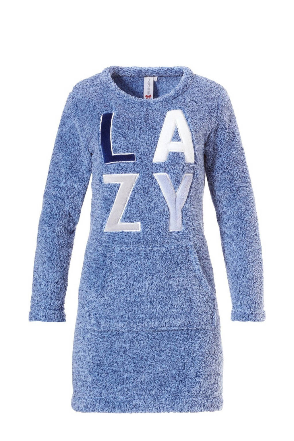 Rebelle fleece loungejurk met applicatie blauw, Blauw
