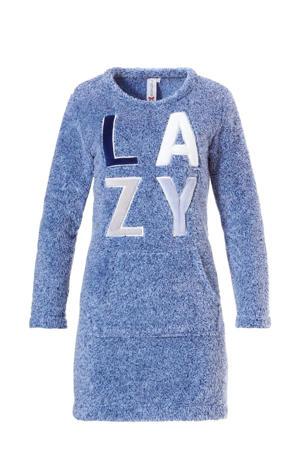 fleece loungejurk met applicatie blauw