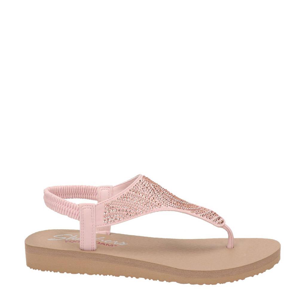 Skechers Meditation  sandalen met strass steentjes lichtroze, Lichtroze