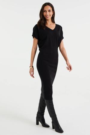 fijngebreide jurk zwart