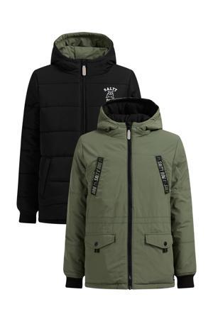 reversible gewatteerde winterjas groen/zwart