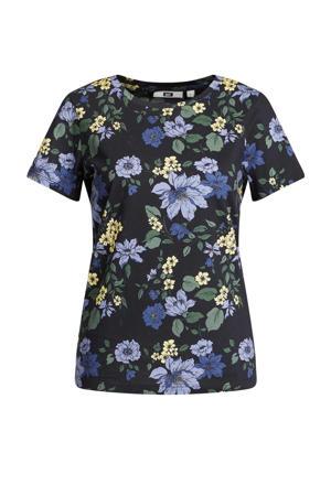gebloemd T-shirt black dessin