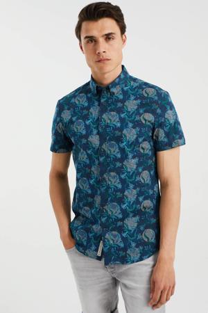 slim fit overhemd met all over print royal navy