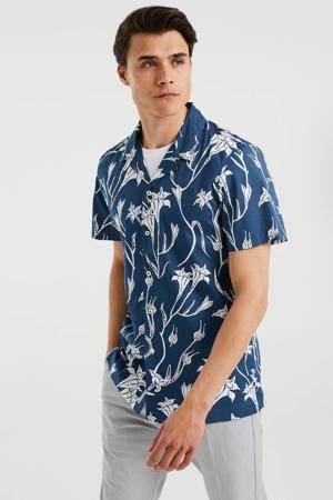 regular fit overhemd met all over print petrol grey