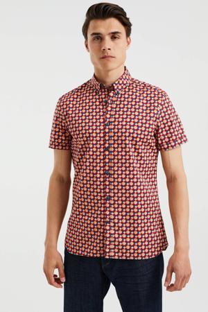 slim fit overhemd met all over print wine