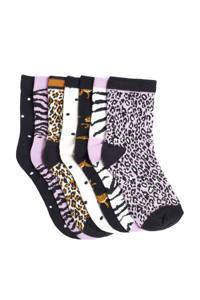 WE Fashion sokken - set van 7 lila/donkerblauw, Lila/donkerblauw