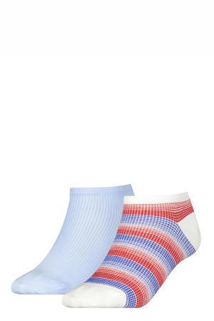 sneakersokken - set van 2 lichtblauw/rood