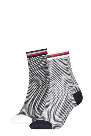 sokken donkerblauw/wit (set van 2)