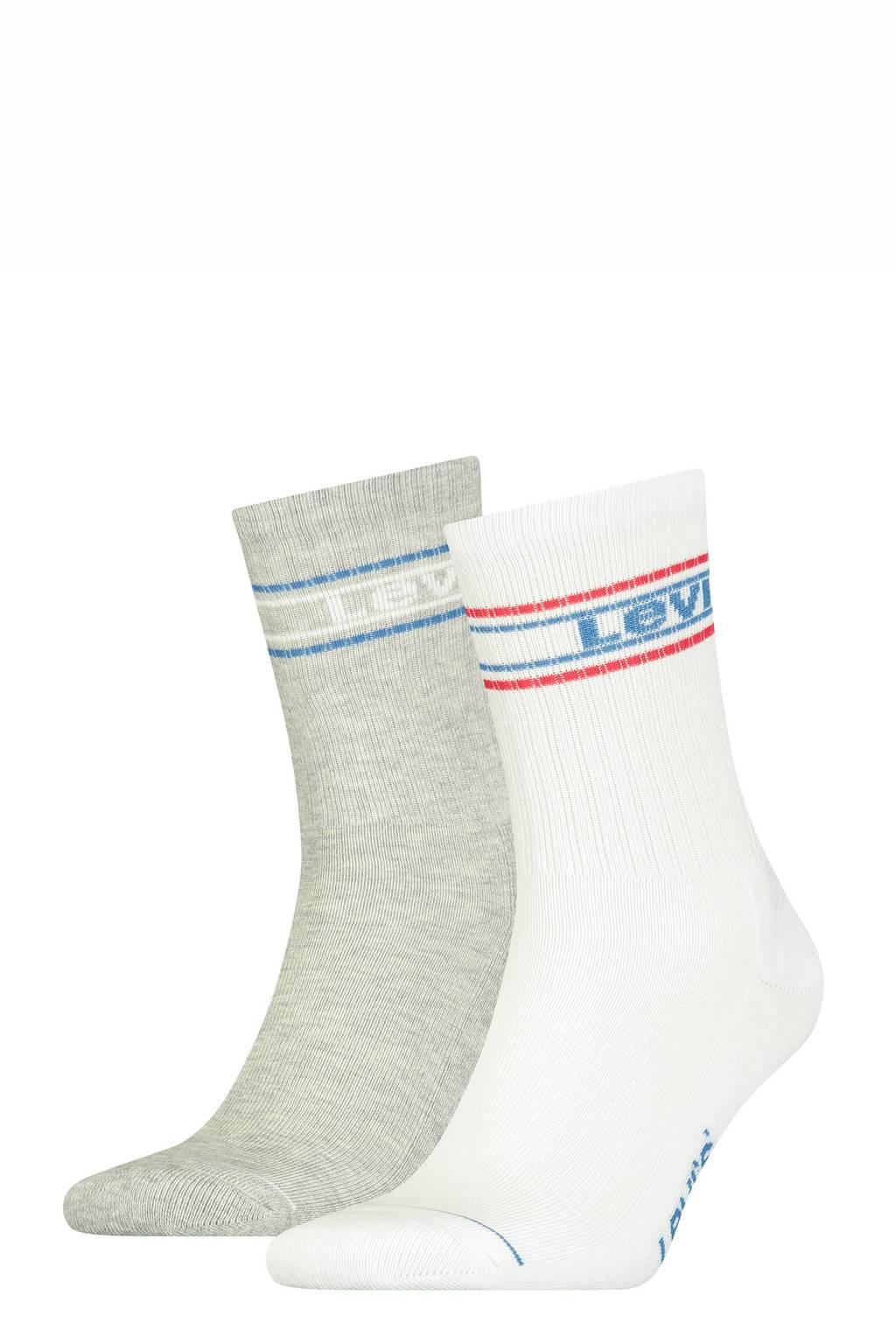 Levi's sokken - set van 2 grijs melange/wit, Grijs melange/wit