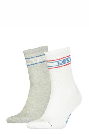 sokken - set van 2 grijs melange/wit