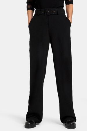 high waist straight fit broek Toffer zwart