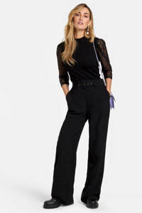 Eksept by Shoeby high waist straight fit broek Toffer zwart, Zwart