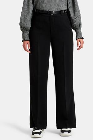high waist wide leg pantalon Mikky zwart