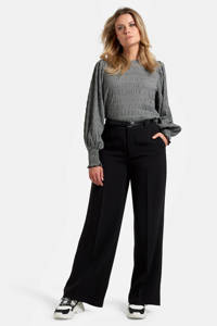 Eksept by Shoeby high waist loose fit broek Mikky zwart, Zwart