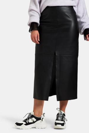 imitatieleren rok Lexie perfo skirt met textuur zwart