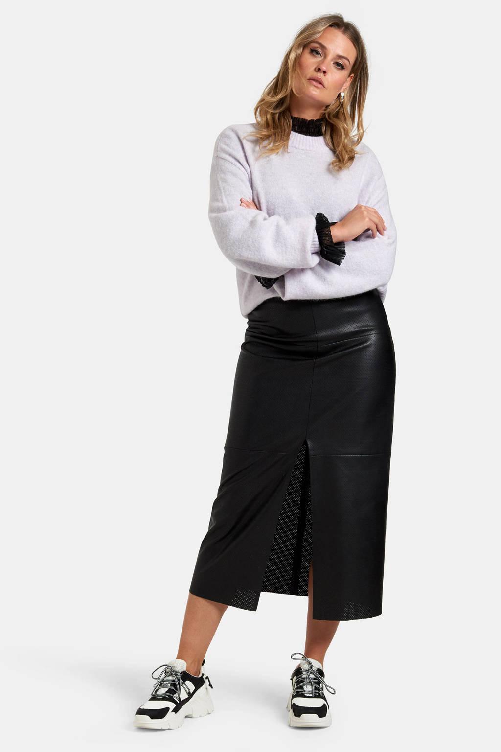 Eksept by Shoeby imitatieleren rok Lexie perfo skirt met textuur zwart, Zwart