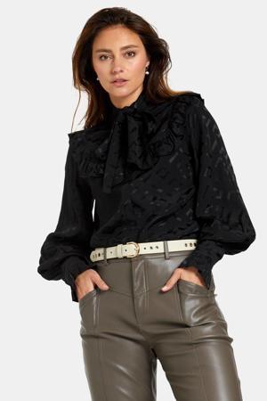 blouse Victorian met all over print en ruches zwart