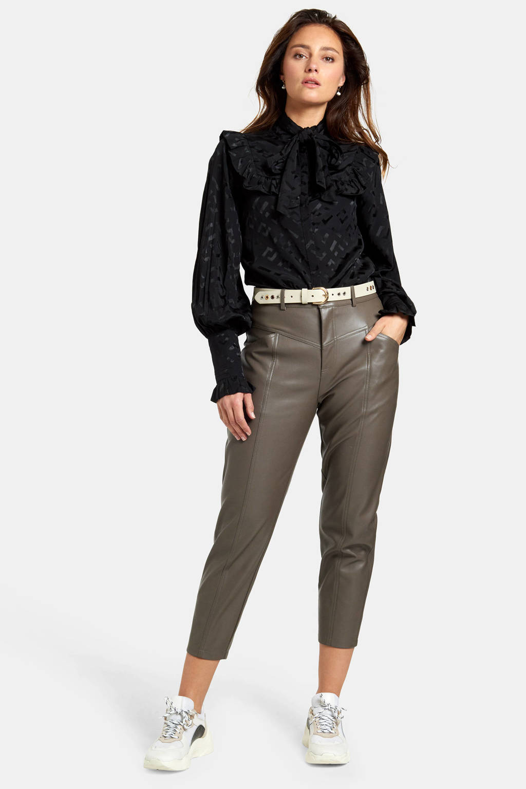 Eksept by Shoeby blouse Victorian met all over print en ruches zwart, Zwart