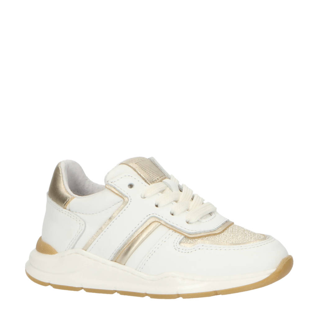 Pinocchio P1769  leren sneakers wit, Wit/goud