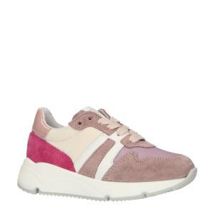 P1730  leren sneakers roze/wit