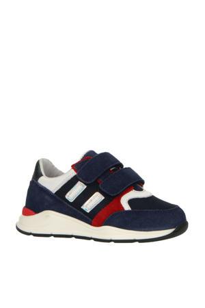P1747  suède sneakers blauw/multi