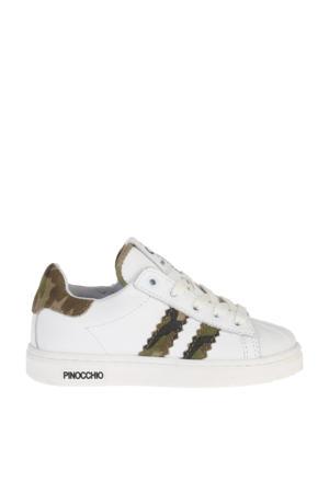 P1834  leren sneakers wit/camouflage