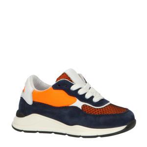 P1770  leren sneakers donkerblauw/multi
