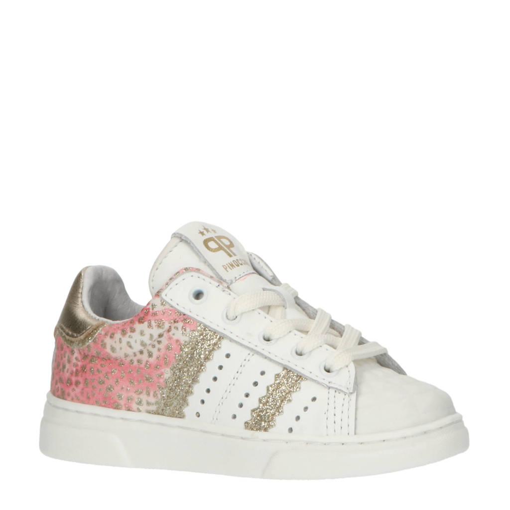 Pinocchio P1779  leren sneakers met glitters wit/roze, Wit/roze/goud