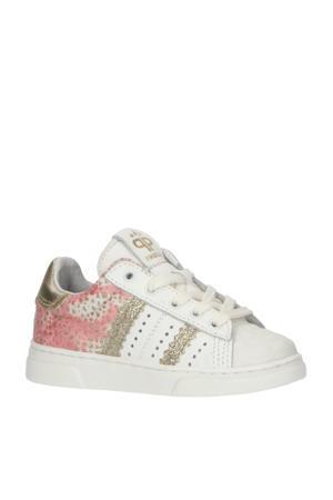 P1779  leren sneakers met glitters wit/roze