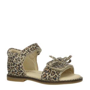 P1745  leren sandalen met panterprint beige