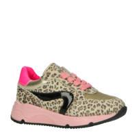 Pinocchio P1758  leren sneakers met panterprint beige/roze, Leer/Voering: Leer