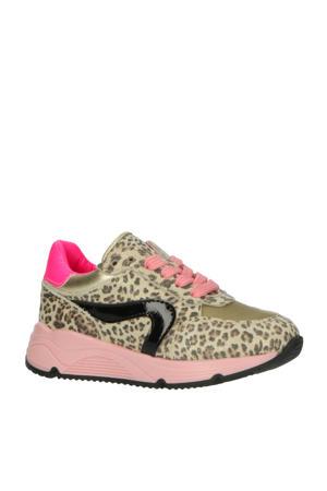 P1758  leren sneakers met panterprint beige/roze