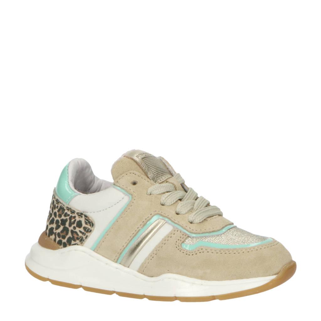 Pinocchio P1769  leren sneakers met panterprint beige/multi, Beuge/Multi